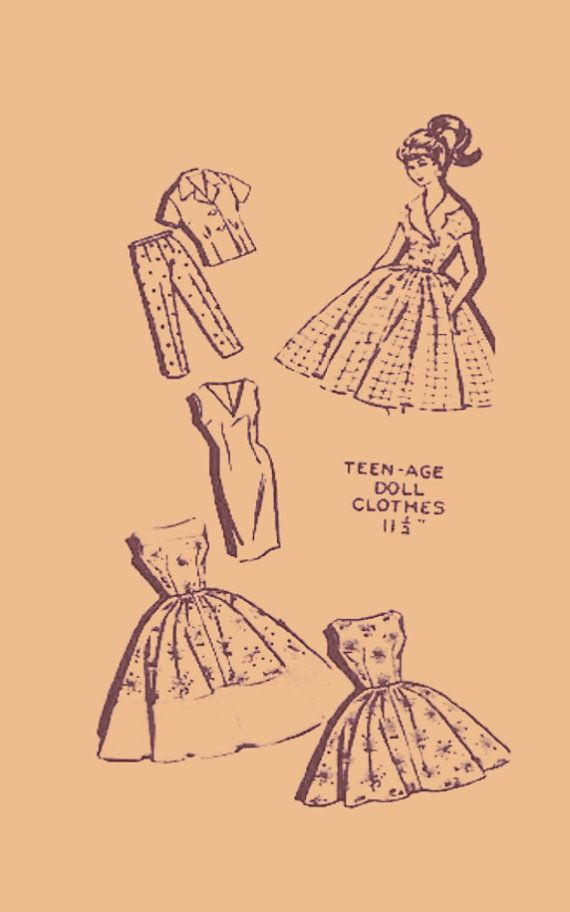 PDF Digital Download Vintage Sewing Pattern Doll Clothes Teenage Fashiion Dolls Barbie Sindy Toys