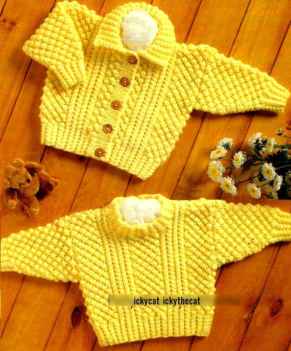 885f64d76e64 PDF Digital Knitting Pattern Baby Children s Aran Cable Sweater ...